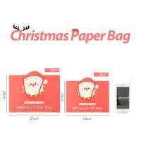 Quality Factory quick ship Xmas Accessories Offset Printed Cartoon Logo Custom Gift Shopping Christmas Paper Bag With Drawstring wholesale