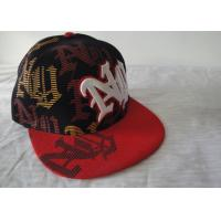 Quality Fashion Flat Peak Snapback Fitted Cap With Velcro, Cool 3d Embroidery / Printed Hip Hop Caps For Boys wholesale