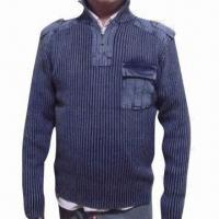 China Stonewashed Women's Sweater with Cables and Embroidery on sale