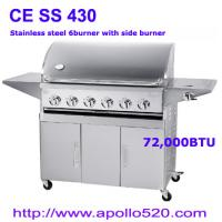 Quality Full SS 6 Burner Gas BBQ with side burner wholesale