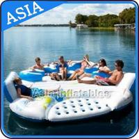 China 0.9mm Durable PVC Tarpaulin Inflatable Island Floating Lounge on sale