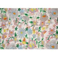 Quality Polyester Multi Colored Dress Lace Fabric With Heavy Embroidery By OEKO TEX 100 wholesale