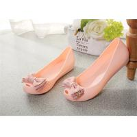 Quality Plastic Resin  Summer Fashion Sandals Womens Peep Toe Flat Shoes With Bowknot wholesale