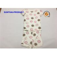 Quality 100% Cotton Baby Girl Summer Sets , Cream Color Toddler Girl Short Sets wholesale