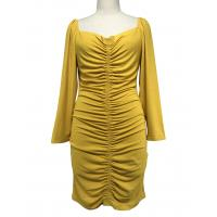 Quality Sexy Long Sleeve Custom Womens Dresses Square Neck Rib Dresses Yellow Color wholesale