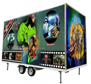 Quality Flexible Mobile 5D Cinema With Trailer And 12 Red Motion Electric Seats wholesale
