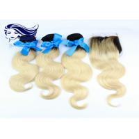 China 7A Peruvian Colored Hair Extensions Human Hair With Lace Closure on sale