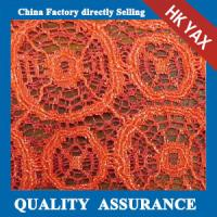 Quality YAX China supplier wholesale YX1273  special design orange lace embroidery fabric,fashion orange lace embroidery fabric wholesale