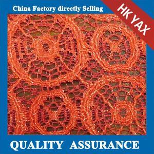 YAX China supplier wholesale YX1273  special design orange lace embroidery fabric,fashion orange lace embroidery fabric