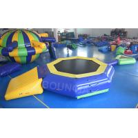 Quality 0.9mm PVC Tarpaulin Inflatable Floating Water Trampoline With Beam For Pool wholesale