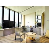 Fashion Apartment Hotel Room Furniture Wooden Headboard with Storage Bed and Chest of Cabinets made by Oak laminated