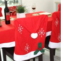 Quality Red Non-woven Christmas Hat Chair Cover ,  Christmas Party Crafts Santa Hat Cover For Merry Christmas wholesale