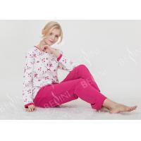Quality Large Floral Printed Womens Pyjama Sets 100% Combed Cotton Interlock Material wholesale