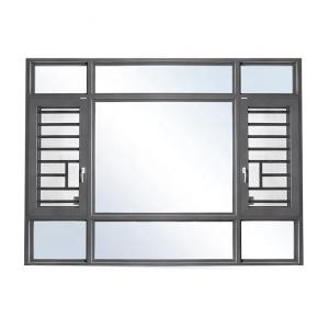 Quality utench grey color aluminium double glazed windows with burglar proof bar wholesale