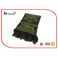 Quality 100% Acrylic Green Knitting Patterns Scarf Adults Flower Pattern Jacquard Scarf wholesale