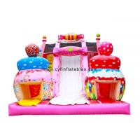 Quality Candy Themed Pink Dry Inflatable Slip Slide For Amusement Park Customized Size wholesale
