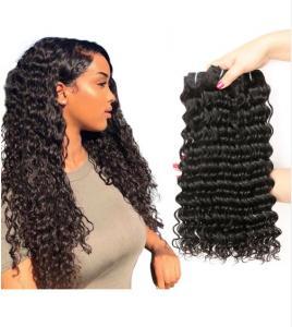 China Deep Curl 100% Virgin Indian Hair Weave Unprocessed Human Hair Black on sale