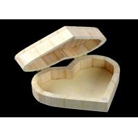 Quality Cover Top Heart Shaped Wooden Box , Wooden Crate Gift Box For Rings Wedding Gift wholesale