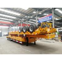 China 100T Low Bed Heavy Duty Semi Trailers / 3 Axle Lowboy Trailer In Mechanical Suspension on sale