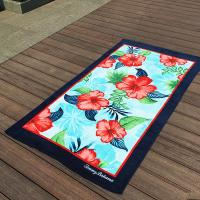 Quality Hibiscus Flower Promotional Beach Towels Rectangular With Multi - Function wholesale