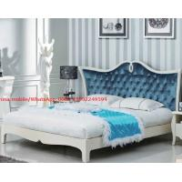 Quality Neoclassical design Luxury Furniture Fabric Upholstery headboard King Bed with Crystal Pull buckle Decoration wholesale