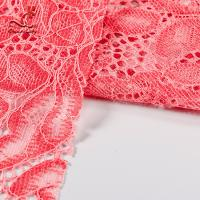 Cheap Comfortable Pink Embroidered Lace Fabric Dimensional High Stability for sale
