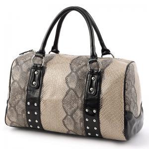 Quality Cylindrical Handmade Womens Leather Handbag With Rivet , Animal Grain wholesale