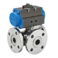 Floating Type Three Way Ball Valve Hand Lever Gear Pneumatic Operation