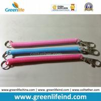 Quality Solid Pink Blue Red Spiral Coil Key Holder W/Snap Clip wholesale