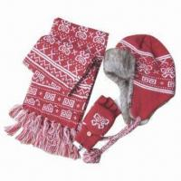 China 3 pieces suit hat with scarf and gloves on sale