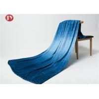 Quality Blue Gradient Pattern Microplush Flannel Fleece Blanket Multi Function Machine Wash Cold Fuzzy wholesale