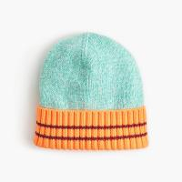 China BOY'S 100% COTTON KNITTED STRIPE CUFF BEANIE HAT on sale