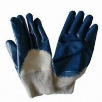 Quality Safety gloves, blue nitrile-coated, knitted wrist, jersey lining, open back, suitable for housework wholesale