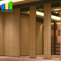 China Wooden 85mm Thickness Folding Partition Walls Melamine Finish Hanging System For Restaurant on sale