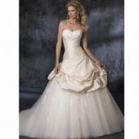 Quality Affordable 2012 Enchanting Sweetheart Ivory Satin Embroidery with Organza Train Bridal Gown wholesale