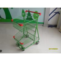 Quality Two Basket Grocery Shopping Trolley Wire Shopping Cart 656x521x1012mm wholesale