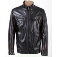 Quality Size 54, Size 56, Black / Dark Red / Coffee Fleece Lined PU Leather Jacket for Men wholesale