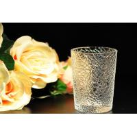 Quality 8oz decorations clear candle holders , glass candle cups Leaf Pattern wholesale