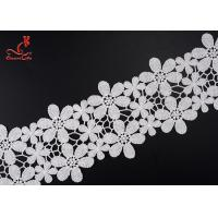 Quality Beautiful Flower White Embroidered Lace Trim For Wedding Dress wholesale