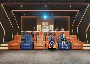 Quality 3D Home Cinema System With Genuine Leather Movie Theater Sofa Seats And Electric Recliner wholesale