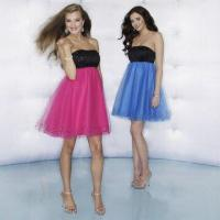 Quality Cocktail Dresses, Jet Beaded, Strapless Empire Bodice with Bright Tulle, Available in various Colors wholesale