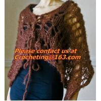 Quality Hand Knitted Poncho, Brown Scarf,Wool Knitted Sweater Green Free Knitting Crochet Woman wholesale