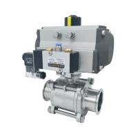 Quality Hygienic Pneumatic Actuator Tri-Clamped 3pcs body Sanitary ss304,ss316 Ball Valves wholesale