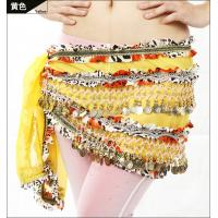 Quality Embroidered Chiffon Ladies Belly Dancing Waist Scarf With Golden Coins And Beads wholesale