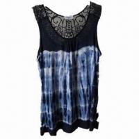 Quality Women's fashionable sleeveless T-shirt with lace wholesale