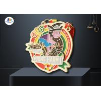 Quality Carnival Medaillen Metal Award Medals Colors Filled With Woven Ribbon Varnish Finish wholesale