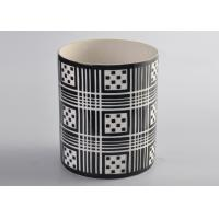 Quality Black Pattern Decal Cylinder Ceramic Porcelain Candle Holders Customized wholesale