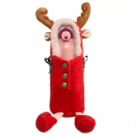 China Christmas Deer Thermos Plush Cup Cover Cute Slung Water Cup Plush Cover on sale