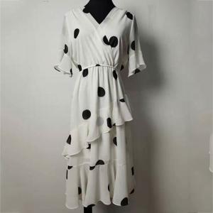 China Women's Irregular Bottom Short Sleeve Bodycon Dress V Neck For Summer on sale