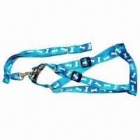 China Pet leashes and collar with silk printing logo, made of nylon, customized designs welcomed on sale